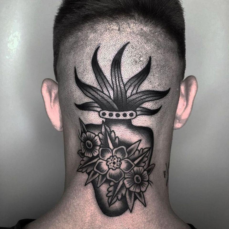 sacred heart tattoo by nacolochkin666 #nacolochkin666 #sacredheart #flowers #fire