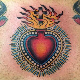 sacred heart tattoo by antonio gaballo #antoniogaballo #sacredheart #fire #cross
