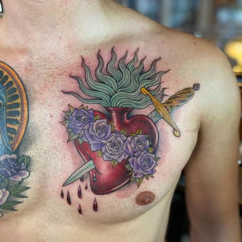 Sacred heart chest tattoo by Miss Juliet #MissJuliet #sacredheart #sword #dagger #fire #rose #blood #dropsofblood #chest