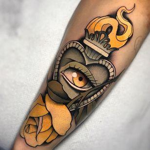 third eye sacred heart tattoo by Daniele Mazza #DanieleMazza #sacredheart #thirdeye #fire #rose #neotraditional