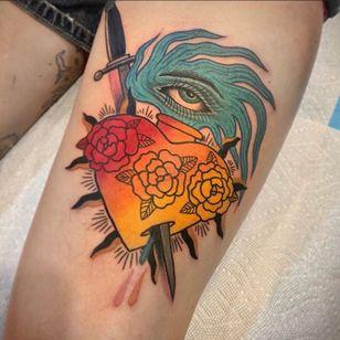 sacred heart tattoo by floatingworldtattoos #floatingworldtattoos #sacredheart #roses #eye #dagger #bluefire