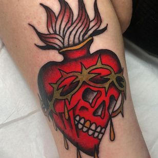 sacred heart tattoo by Chase Tucker #ChaseTucker #sacredheart #skull #thorns #fire