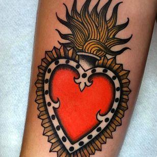 sacred heart tattoo by jonnys hand #johnnyshand #sacredheart #fire #traditional