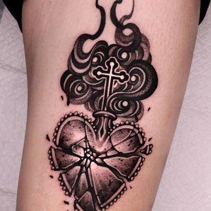 sacred heart tattoo by kimsatgat #kimsatgat #sacredheart #brokenglass #shattered #fire #cross