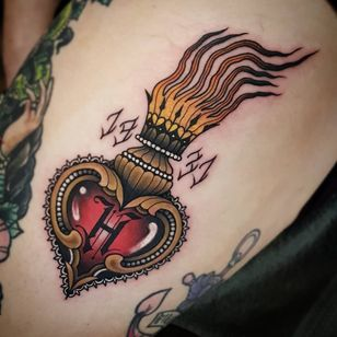 sacred heart tattoo by anholt tattoo #anholttattoo #sacredheart #lettering #gilded #filigree #pearls #fire