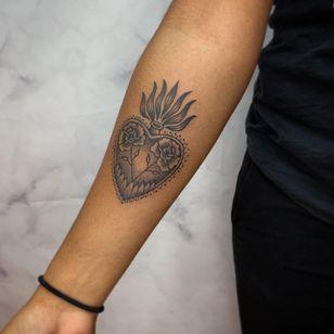 sacred heart tattoo by drubiedoo #drubiedoo #sacredheart #flower #fire