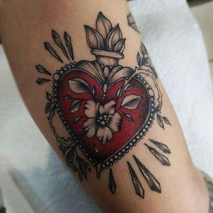 sacred heart tattoo by black dagger tattoo norwich #blackdaggertattoo #blackdaggertattoonorwich #sacredheart #flower #fire