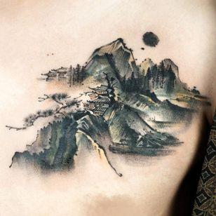 Painterly tattoo by Ati #Ati #tattooistati #koreanart #koreantattoo #koreantattooist #painterly #fineart #landscape #pagoda #mountain #nature