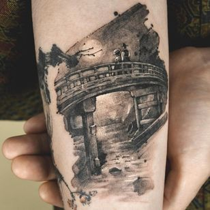 Painterly tattoo by Ati #Ati #tattooistati #koreanart #koreantattoo #koreantattooist #painterly #fineart #landscape #bridge #love #moon #nature
