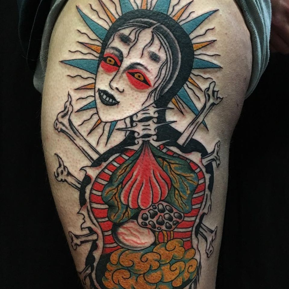 Tattoo by Boone Naka #BooneNaka #Traditional #Tribal #Surreal #psychedelic #portrait #entrails #body #bones
