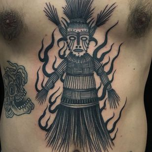 Tattoo by Boone Naka #BooneNaka #Traditional #Tribal #Surreal #psychedelic #wickerman #fire #sculpture #mask