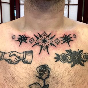 Tattoo by Boone Naka #BooneNaka #Traditional #Tribal #Surreal #psychedelic #folkart #folkpattern #floral #pattern #dotwork #collar