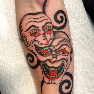 Tattoo by Boone Naka #BooneNaka #Traditional #Tribal #Surreal #psychedelic #mask #demon #devil #laughnowlaughlater #laugh #smile