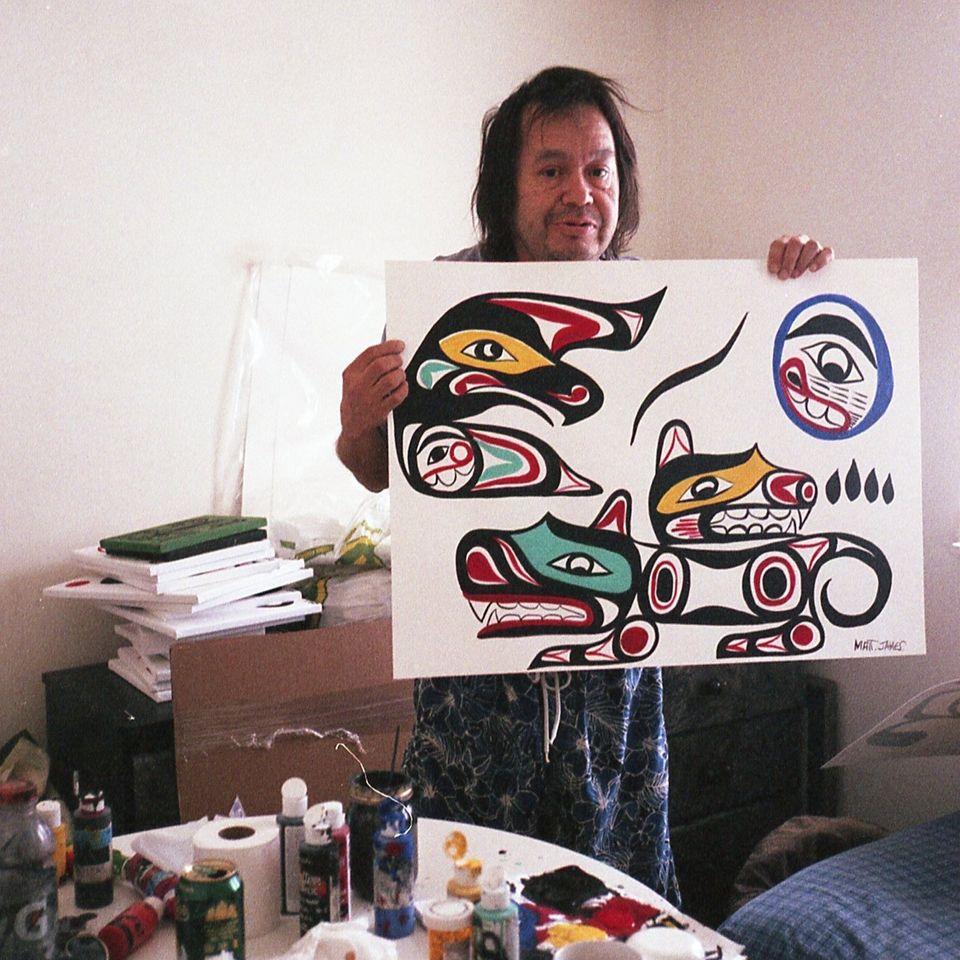 Portrait of Matt James holding one of his paintings. #MattJames #WeWaiKai #fineart
