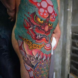 Foo dog tattoo by sen irezumi #senirezumi #foodog #shishi #shi #guardianlion #Lion #mysticalcreature #mythicalcreature #deity