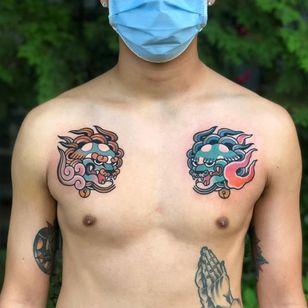 Foo dog tattoo by yubtattoo #yubtattoo #foodog #shishi #shi #guardianlion #Lion #mysticalcreature #deity