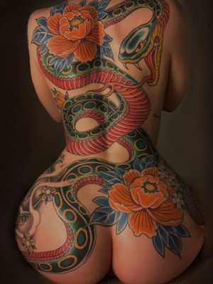 Tattoo by Jordan Baxter #JordanBaxter #illustrative #traditional #oldschool #peony #snake #backpiece