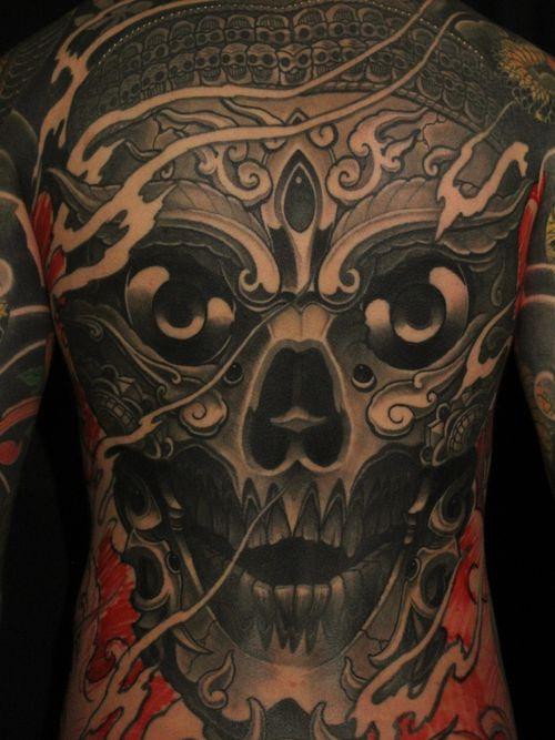Tattoo by Soren Sangkuhl #SorenSangkuhl #japanese #neojapanese #tibetan #kapala #fire #jewel