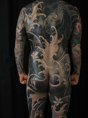 Tattoo by Soren Sangkuhl #SorenSangkuhl #japanese #neojapanese #koi #fish #waves #mapleleaves