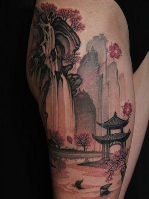 Tattoo by Soren Sangkuhl #SorenSangkuhl #japanese #neojapanese #pagoda #cherryblossoms #landscape #nature