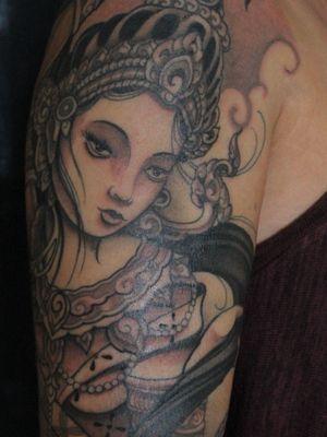 Tattoo by Soren Sangkuhl #SorenSangkuhl #japanese #neojapanese #goddess #portrait #blackandgrey