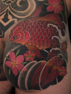 Tattoo by Soren Sangkuhl #SorenSangkuhl #japanese #neojapanese #koi #cherryblossom #waves #fish