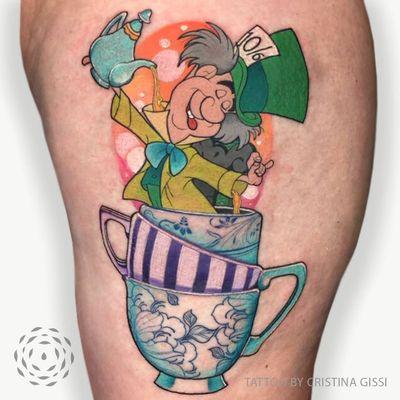 Alice in Wonderland tattoo by Cristina Gissi #CristinaGisse #Aliceinwonderland #alice #wonderland #madhatter #tea #teacup #disneytattoo #disney #waltdisney