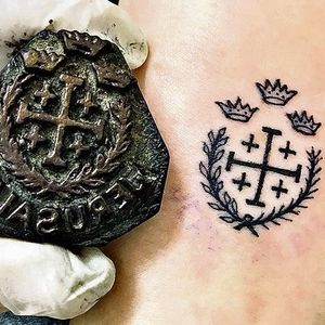 Traditional Jerusalem cross tattoo – image from The Times #religioustattoos #traditionaltattoos #historyoftattooing #tattooedroyals