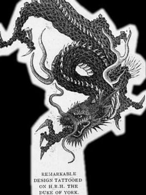George V, previously Prince George, his dragon tattoo design and a sketched depiction of the tattooing process #tattooedroyalty #tattooedkings #historyoftattooing #japanesetattoos