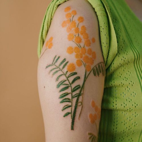 Oil pastel tattoo by Gong Greem #GongGreem #oilpastel #painterly #watercolor #color #floral #flower #nature #plant