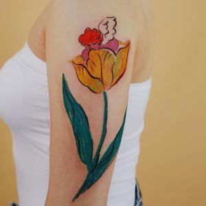 Oil pastel tattoo by Gong Greem #GongGreem #oilpastel #painterly #watercolor #color #floral #flower #nature #plant #tulip #angel #cherub #babyangel