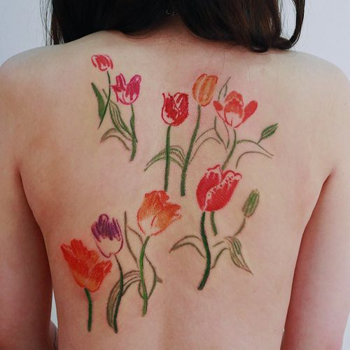 Oil pastel tattoo by Gong Greem #GongGreem #oilpastel #painterly #watercolor #color #floral #flower #nature #plant #tulip