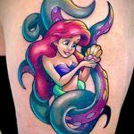 Little Mermaid tattoo by Chris Morris #ChrisMorris #newschool #colorful #disney #littlemermaid #ursula #pearl #shell #animation