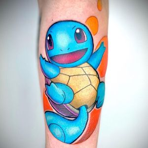 Squirtle tattoo by Chris Morris #ChrisMorris #newschool #colorful #pokemon #squirtle