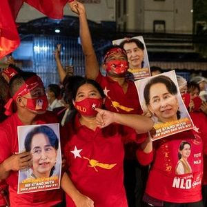 Myanmar residents celebrating Aung San Suu Kyi's landslide election win in November 2020. Photo by Reuters. #myanmarrevolt #militarycoup #protesttattoos