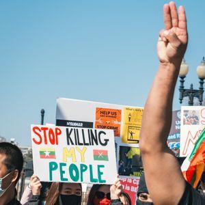 Protestors in Myanmar. Photo by Gayatri Malhotra #myanmarrevolt #protesttattoos #myanmarprotests