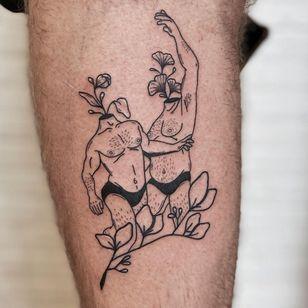 Illustrative tattoo by Nicolas Trotman aka Nick Trotman #NicolasTrotman #NickTrotman #illustrative #blackandgrey #nature #plant #headless #headlessbody #portrait #flower #blooming #queertattooer #lgbtqia #bipoc #qttr #lgbt #qtbipoc
