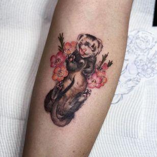 Ferret tattoo by dlouisetattoo #dlouisetattoo #ferret #flower #floral #animal #nature #cute