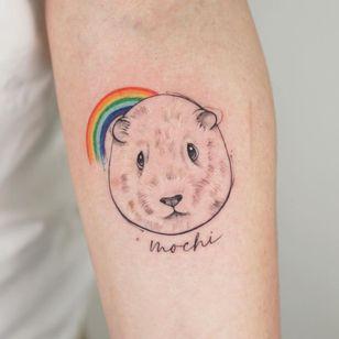 Guinea Pig tattoo by greens tattoo #greenstattoo #guineapig #rainbow #memorialtattoo #animal #cute #love