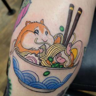 Hamster tattoo by Stephen Russo #StephenRusso #hamster #pho #noodles #food #chopsticks