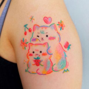Hamster and cat tattoo by sisi.lovelove #sisilovelove #hamster #cat #animal #love #strawberry #cherry #flower #floral #cute