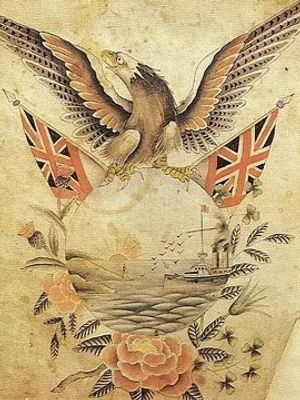 A selection of George Burchett's patriotic wartime designs #GeorgeBurchett #militarytattoos #wartimetattoos #vintagetattoos #historictattoos #traditional tattoos