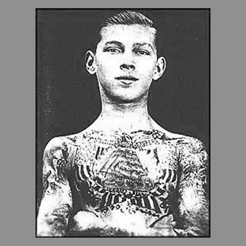 George Burchett as a young man displaying some of his rarely seen tattoos #georgeburchett #kingoftattoos #militarytattoos #navaltattoos #blackandgreytattoos