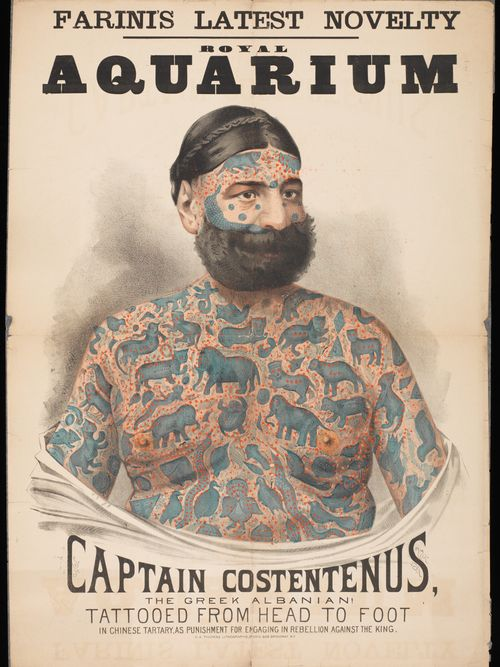 A poster advertising a tattooed performer at the Royal Aquarium, London #victoriantattoos #freakshows #oddities #circustattoos