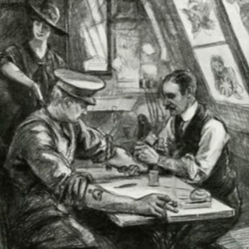 A sketch of George Burchett at work in his Waterloo Road tattoo studio - featured in The Graphic Newspaper, July 1917 #GeorgeBurchett #historictattoos #firstworldwartattoos #militarytattoos #thekingoftattooists
