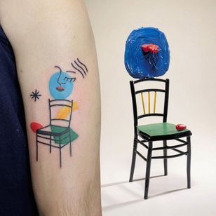 Illustrative tattoo by Yannick NorY aka YNY aka Les Niaiseries #YannickNorY #LesNiaiseries #illustrative #linework #abstract #expressive #symbolism #joanmiro #fineart #sculpture #chair #face