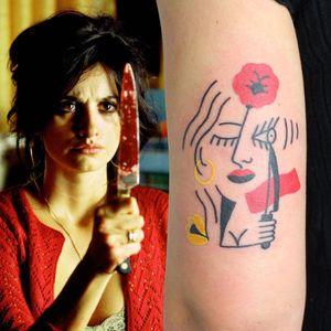 Illustrative tattoo by Yannick NorY aka YNY aka Les Niaiseries #YannickNorY #LesNiaiseries #illustrative #linework #abstract #expressive #symbolism #penelopecruz #volver #knife #flower #film #pedroalmodovar