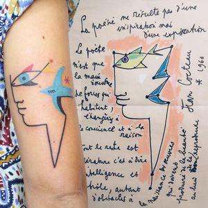 Illustrative tattoo by Yannick NorY aka YNY aka Les Niaiseries #YannickNorY #LesNiaiseries #illustrative #linework #jeancocteau #cocteau #bird #fish #portrait #abstract #expressive #symbolism