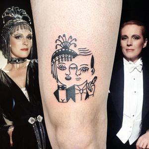 Illustrative tattoo by Yannick NorY aka YNY aka Les Niaiseries #YannickNorY #LesNiaiseries #illustrative #linework #abstract #expressive #symbolism #victorvictoria #movie #portrait #blackwork #julieandrews #transvestite #genderbending #lgbtqia #lgbt #quee