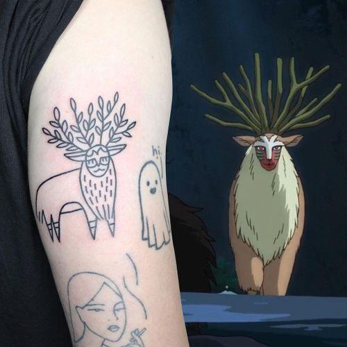 Illustrative tattoo by Yannick NorY aka YNY aka Les Niaiseries #YannickNorY #LesNiaiseries #illustrative #linework #abstract #expressive #symbolism #studioghibli #forestspirit #princessmononoke #anime